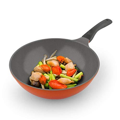 Pannen met deksels Ceramic wok Dubbele bodem non-stick pan minder olie rook pan huishoudelijke pot inductie kookplaat wok