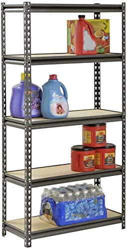"COLIBROX Muscle Rack 5-Shelf Steel Shelving, Silver-Vein, 12"" D x 30"" W x 60"" H"