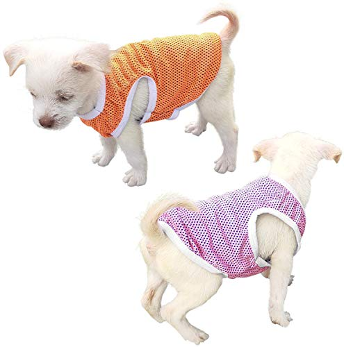 QiCheng & LYS Camiseta para Perros de 2 Piezas, Chaleco Deportivo para Perros, Suave y Transpirable Adecuado para Perros pequeños y medianos (Rosado/Naranja, X-Small)