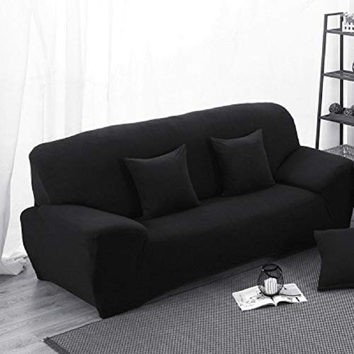 INMOZATA Fundas de sofá de 2 plazas, 1 pieza de poliéster y elastano, elásticas, fundas protectoras, lavables (negro)