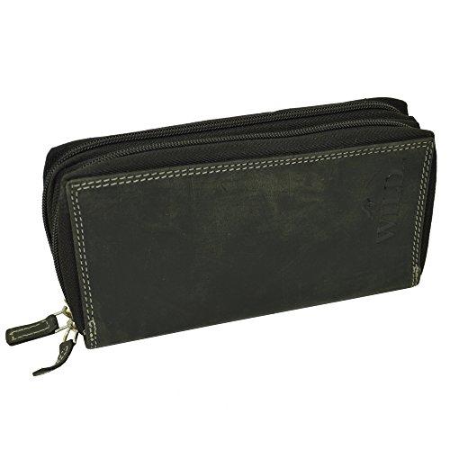 flevado Xl Portemonnaie Roberto Große Damen Wild Leder Geldbörse mit viel Stauraum und Platz für 22 Karten (schwarz)