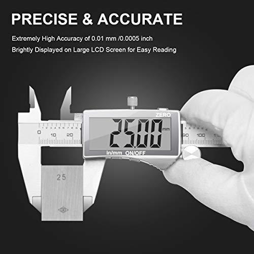 Pied à Coulisse Numérique, Preciva Professionnel Caliper 150m, Précision Digital Outil Micromètre Vernier en Acier Inoxydable, mm/inch conversion, Résiste aux Eclaboussures (Écran normal)