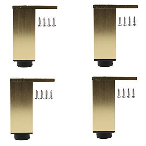 Patas de muebles de Metal Dorado,Patas de Soporte de gabinete de baño Ajustables de aleación de Aluminio,pies de Repuesto de gabinete de Cocina,para sofá/gabinete de TV/Mesa de Centro