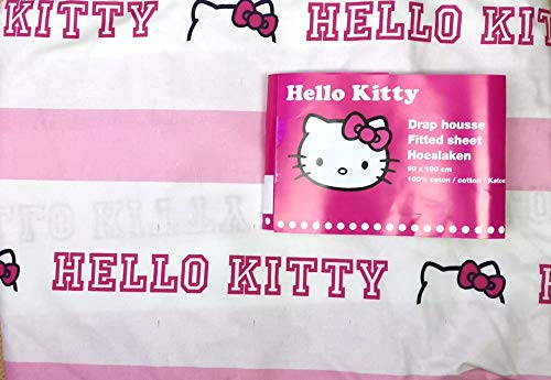 Sábana bajera para cama infantil de 90 x 190 cm, diseño de Hello Kitty