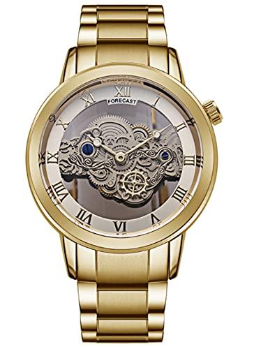 CHXISHOP Reloj para hombre Hollow Tourbillon Ultra-delgado Reloj automático Pareja Reloj de cuarzo Banda de acero Reloj (correa de reloj se puede ajustar), dorado