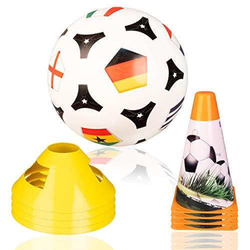 Plitsch Platsch Fußball Trainings Set für Kinder Rasen Strand   Fussball, 4 Pylone/Kegel und 4 Markierungshütchen