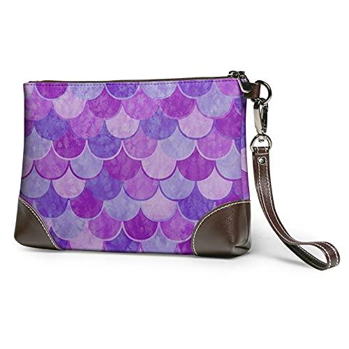 purple mermaid scale Leather Clutch for Women Oversized Bag Purse Wristlet Handbag