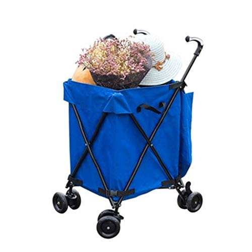 LYLSXY Trolleys,Shopping Cart Household Folding Trolley Camping Portable Trailer with Wheels Outdoor for Travel,Blue+Folding Board