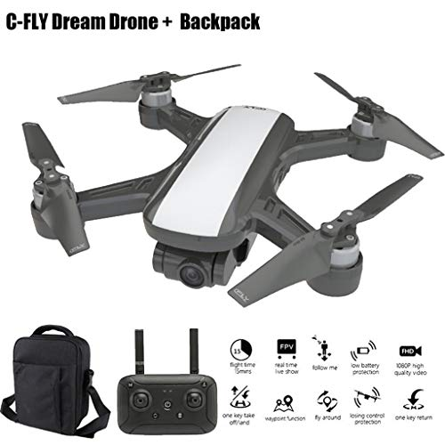 HSKB Drohne mit Kamera, C-Fly Dream 120°Weitwinkel 1080P HD Kamera, GPS / Optischer Fluss 5G WiFi FPV RC Quadrocopter, App-Steuerung, One Key Start/Landung, Headless Modus mit Rucksack (Weiß)