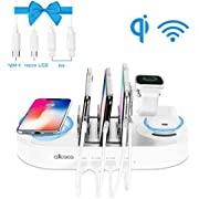 allcaca USB Charging Station with 2 Wireless Charging Pad and 4-Port USB Charging Dock for iPhones, Android Phones, Tablets, 4 USB Cables Included, Holder for Apple Watch
