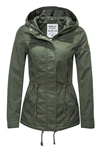 ONLY Damen Onlnew Lorca Spring Jacket CC OTW Parka, Grün (Grape Leaf Grape Leaf), 38 (Herstellergröße: M)