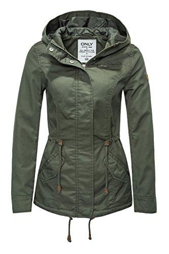 ONLY Damen Onlnew Lorca Spring Jacket CC OTW Parka, Grün (Grape Leaf Grape Leaf), 38 (Herstellergröße: M)