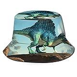 YZBEDSET Sombrero Pescador Unisex,Un Spinosaurus en un acantilado Junto a la Luna,Plegable Sombrero de Pesca Aire Libre Sombrero Bucket Hat para...