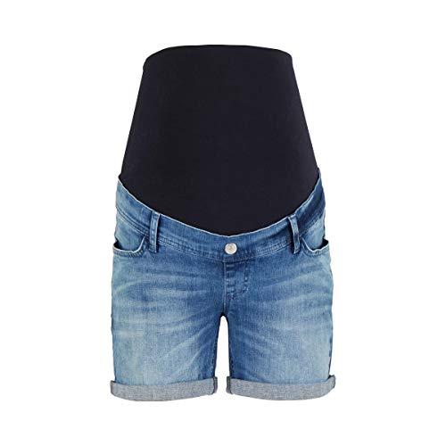 2HEARTS Umstands-Shorts Love is in The Air - Kurze Schwangerschaftsjeans aus elastischem Denim mit Cooler Waschung & Überbauchbund - Washed Denim