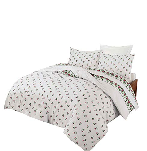NZ Rose Bud Floral Pattern Luxurious Flannelette 100% Natural Brushed Cotton Thermal Duvet Cover Sets Reversible Bedding Sets (Pink, Double)