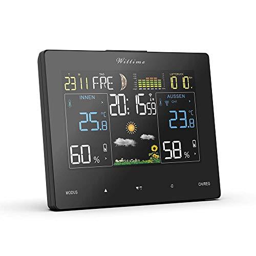 Wittime 2077A Funkwetterstation mit Farbdisplay und Außensensor Innen- und Außentemperaturanzeige. DCF-Funkuhr Multifunktionale Funkwetterstation Thermometer Hygrometer(Horizontal/Deutsche)