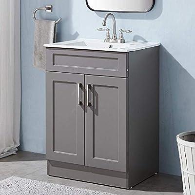 "Modern 28"" White Wall Mounted Bathroom Vanity,Storage Cabinet with White Ceramic Vessel Basin Top Vanity Sink Combo Bathroom Cabinet Set"