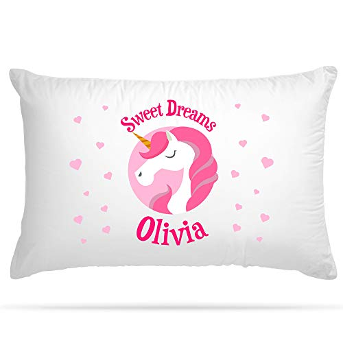 Shopsharks PERSONALISED Cushion Cover Pillow Case Kids Unicorn Gift for Girls Sweet Dreams with Name (Pink)