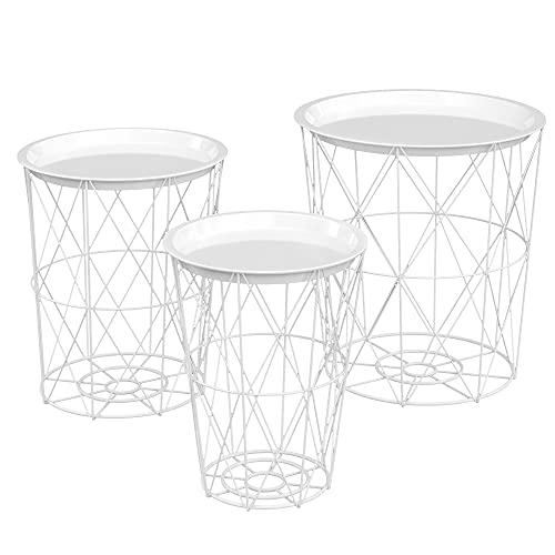 HOMCOM 3er Set Beistelltisch mit StauraumNachttisch Dekorativer Sofatisch mit abnehmbarem Deckel Korbablage Korbtisch Kaffeetisch Stahl Ø43 x 44,5 cm/Ø35 x 39,5 cm/Ø30 x 35,5 cm