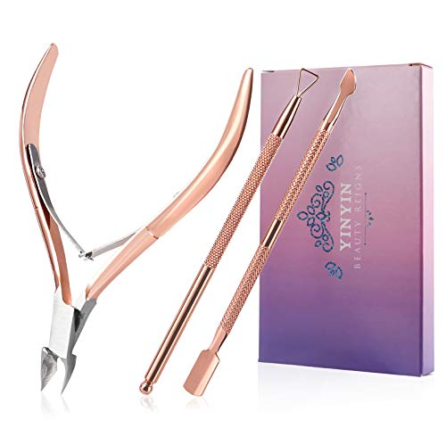 Cuticle Trimmer with Cuticle Pusher and Cutter-YINYIN Cuticle Cutter Cuticle Nipper Professional Stainless Steel Cuticle Clippers Durable Pedicure Manicure Tools for Fingernails and Toenails