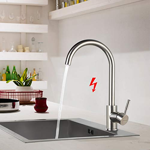 BONADE Niederdruckarmatur Küche Spültischarmatur Edelstahl Wasserhahn 360° schwenkbare Küchenarmatur Einhebel Mischbatterie mit 3 Schläuchen Armatur für offene Boiler/Untertischgerät