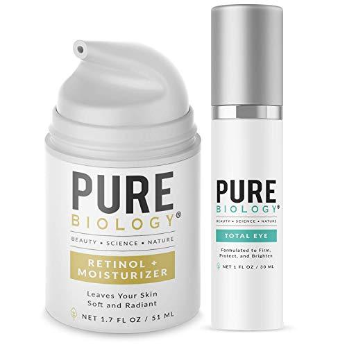 Pure Biology Premium Total Eye Cream & Retinol Cream Bundle to Help Brighten & Tighten Under Eye Bags, Wrinkles & Fine Lines