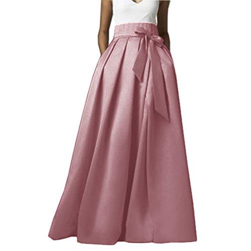 Damier Damen Vintage Langer Rock Plissee Rockabilly Maxi-Rock A-Linie Abendröcke Rosa