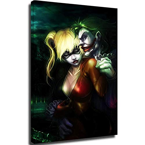 Canvas Prints Canvas Wall Art for Bedroom Animated Joker and Harley Quinn Canvas Pictures for Wall Custom 24x36inch