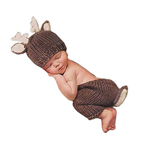 Newborn Monthly Baby Photo Props Outfits Christmas Deer Hat Pant for Boy Girl Photography Shoot