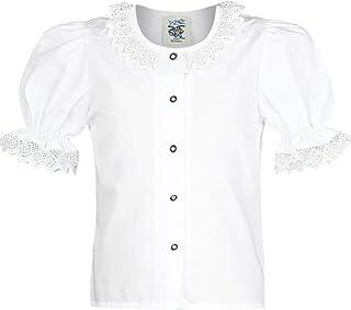 Isar-Trachten Mädchen Mädchen Trachten-Bluse mit Spitze Weiss, WEIß,