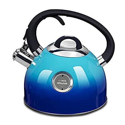 [2.6 Quart]Whistling Kettle, HOHSCHEID 18/10 Food -Grade Stainless Steel Stovetop Tea Kettles, Kettle Body with Visible Window of Maximum Waterline and Tea Pot Ergonomic Cool Handle(Gradient Blue)