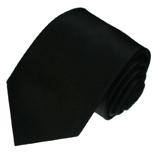 Lorenzo Cana - Hochwertige Marken Krawatte aus 100% Seide - schwarz Satin uni einfarbig Trend Seidenkrawatte - 84308
