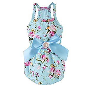 MSNFOASM Puppy Dog Halter Dress,Cute Floral Princess Sling Skirt with Ribbon for Small Dogs Cats for Summer (Peony Blue S)
