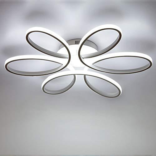 Lámpara de techo LED de 75 vatios Forma de flor creativa Lámpara de techo Pantalla de aluminio acrílico moderna y elegante, blanca mate Luz de techo Dormitorio L59cm * H11cm, luz blanca 6000K