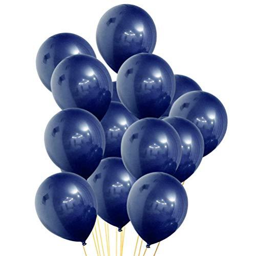 Amosfun Luftballons, Metallic-Marineblau, Latex-Luftballons für Geburtstag, Hochzeit, Halloween, Party, 100 Stück