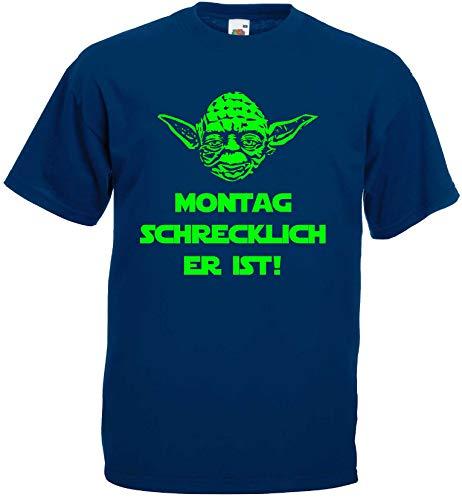 Master Yoda Unisex T-Shirt Star Wars Spruch Montag schrecklich ! Blau-XXXL