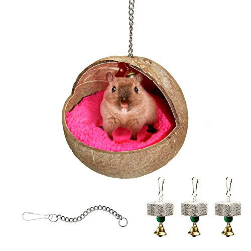 Natürliches Kokosnussschalen-hamster Haus-vogelhaus, Hamster Hängendes Kokosnest Mit Matte Und 3 Stk Papagei Kauen Spielzeug Lava Calcium-block Für Wellensittich, Kanarienvögel Finken, Hamster (H1)