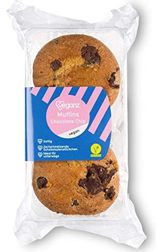 Veganz Muffins Chocolate Chip - Saftig mit Extra großen Schokostücken Vegane Schokolade 2 Go Süßigkeiten - 10 x 2 Stück