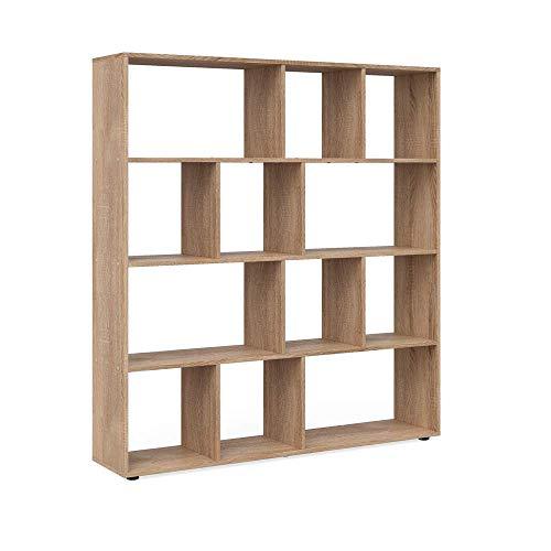 Vicco Raumteiler Pilar 12 Fächer - Raumtrenner Bücherregal Standregal 131,6 x 143 x 29 cm (BxHxT), Spanplatte Aktenregal (Sonoma)