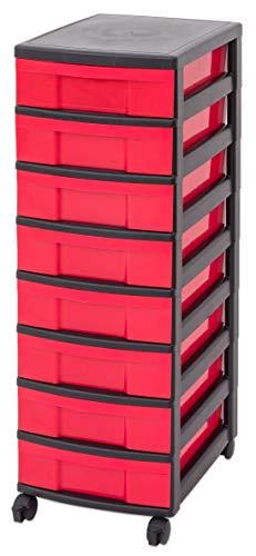 IRIS Schubladenbox mit Rollen, Kunststoff, rot/schwarz (8 kleine) - Schubladenschrank...