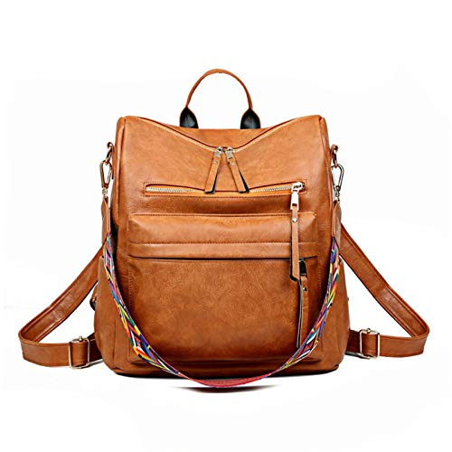 Backpack Purse for Women Cute Retro PU Leather Daypacks Convertible Casual Shoulder Bag by Buenos Aire (Brown,11.81x5.90x13.77)