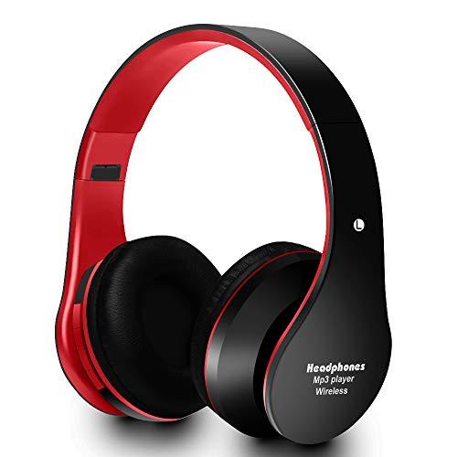 Songwen Auriculares Bluetooth Over Ear, Hi-Fi Auriculares Inalámbricos Estéreo Soft Memory-Protein Earmuffs Plegable sobre la Oreja con Micrófono Incorporado para PC/Phones/TV/ MP4(Rojo)