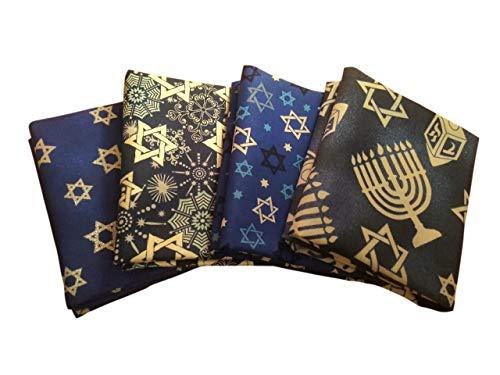 Fat Quarter Fabric Bundle Set 4(1/4 Yard) Hanukkah Stack