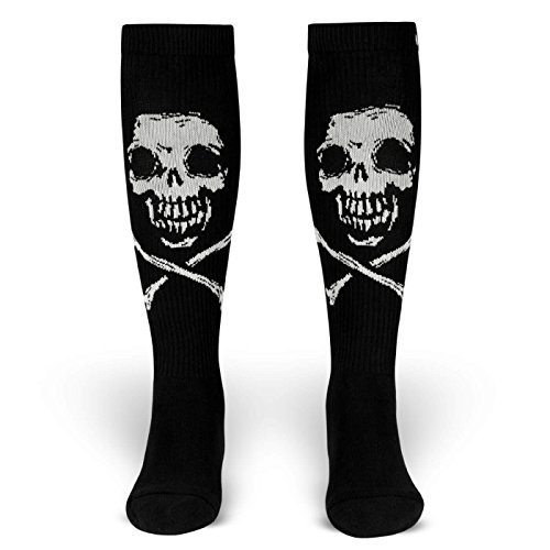 ROCKASOX Fiend Brigade | Socken Schwarz, Weiß | Totenkopf, Skull und Bones | kniehoch | Unisex Strümpfe Größe M (39-42)