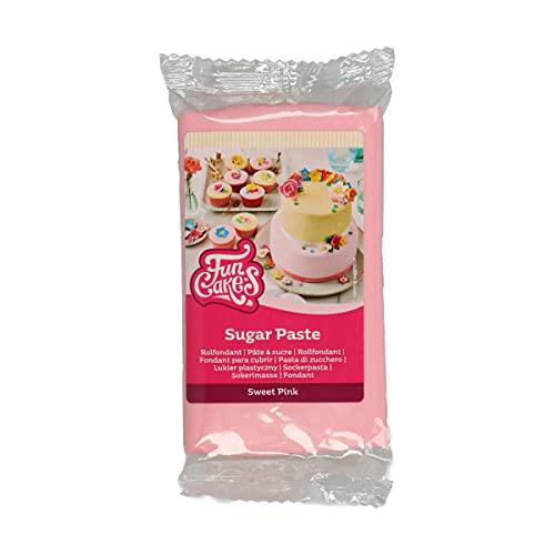 FunCakes Pasta di Zucchero Sweet Pink: facile da usare, liscia, flessibile, morbida e pieghevole, perfetta per decorare torte, halal, kosher e senza glutine. 250 gr