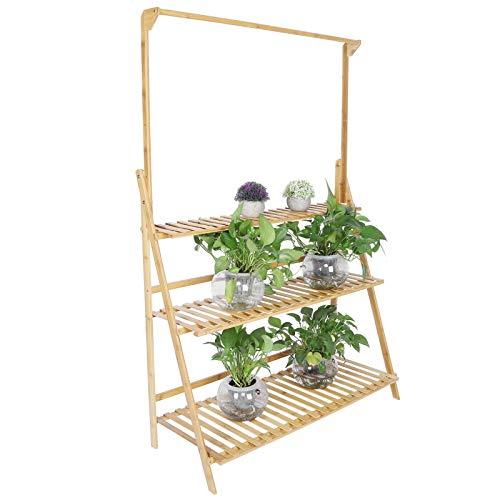 Ausla - Maceta colgante de bambú con 3 niveles, ideal para casa, balcón, terraza, jardín – 143 x 95,5 x 37,7 cm