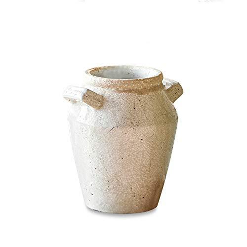 Loberon Übertopf Fenia, Terrakotta, H/Ø ca. 28/24 cm, Deko, Pflanzen, Creme