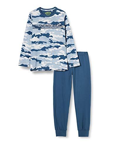 Sanetta Jungen Schlafanzug Blue Aufregender Pyjama blau-weißen Camouflage-Print, 152