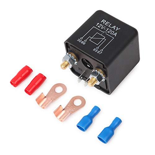 Ehdis Relés Coche 12V 120A 4 Pin Relay Box Negro batería de Coche para el Carro del vehículo automotor Pesado Van Barco Excavadora + 2 + 2 Borne de Contacto Huella