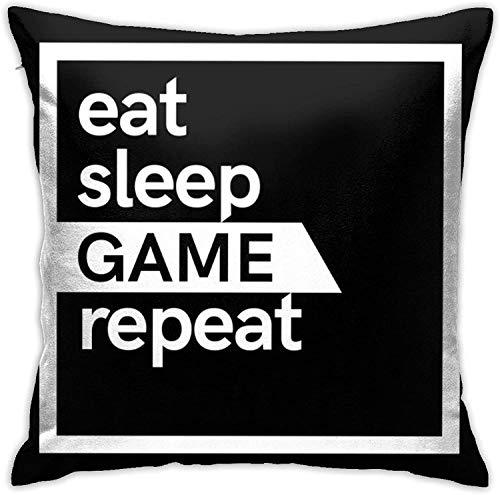 MODORSAN Eat Sleep Game Repeat Throw Home Dormitorio Decoración para el hogar Cuadrado 18x18 Pulgadas Funda de Almohada